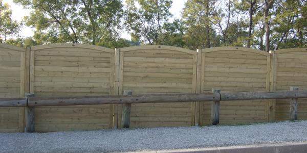 Wood panel fence installation